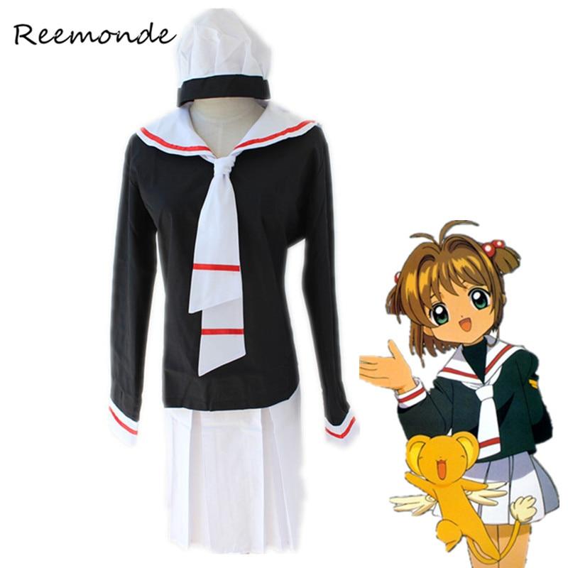 Anime Card Captor Sakura Cosplay Costume Kinomoto Sakura Wig Cosplay In Women Girls Sailor School Uniform Suit Outfit Costumes