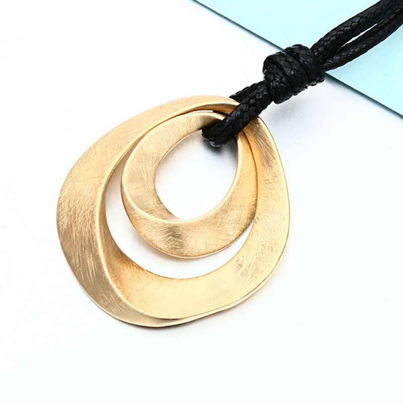 Shineland Ouro Cor Prata Pingente de Colares Longos Para As Mulheres Moda Jóias 80 centímetros PU Cadeia Couro Colar collares mujer