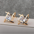 Hollw Geometric18K Gold Plated Crystal Stud Earrings For Women 2015 Korean New Design High-end Elegant Zircon Earrings Wholesale