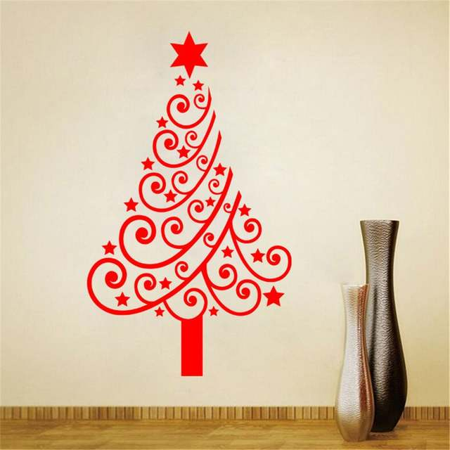 Us 5 24 25 Off Large Size Christmas Tree Display Window Diy Wall Stickers Removable For Store Glass Door 60 100 Cm Adesivo De Parede In Wall