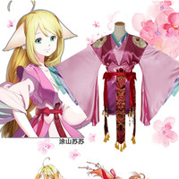 Women Dress Anime Cosplay for Little Red Fox China Style of Han Dynasty Vestidos Costume for Adult in Carnaval Helloween Party