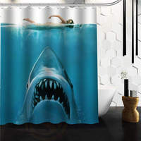 Free Shipping The Beauty And Sharks Shower Curtain Bath Curtain High Quality Of Shower Curtain Print