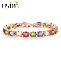 USTAR Colorful Oval Zircon Charm Bracelet For Women Rose Gold Color Chain Link Crystals Bracelet Bangle