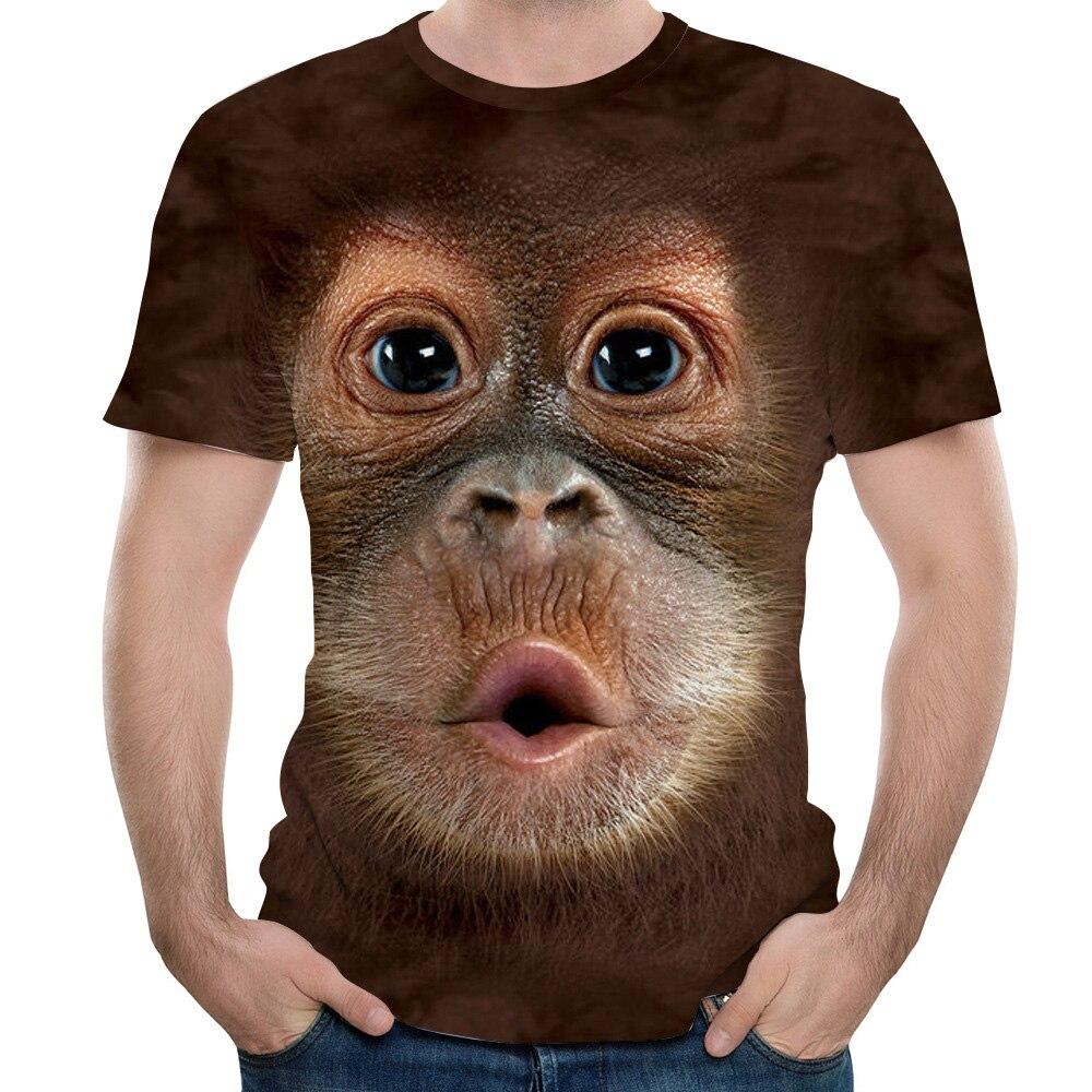 Men's T-Shirts 3D Printed Animal Monkey tshirt Short Sleeve Funny Design Casual Tops Tees Male Halloween t shirt European Size