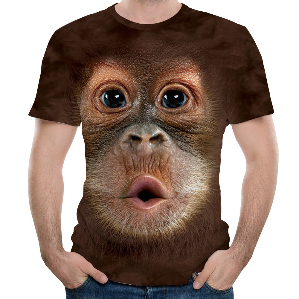 Men's   T  -  Shirts   3D Printed Animal Monkey tshirt Short Sleeve Funny Design Casual Tops Tees Male Halloween   t     shirt   European Size