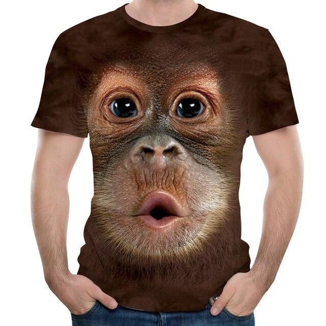 男性の Tシャツ 3D プリント動物サル tシャツ半袖おかしいデザインカジュアルトップス Tシャツ男性ハロウィーンの tシャツヨーロッパサイズ