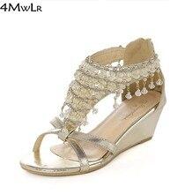 2016 summer girl woman open toe wedge low heel sandals beading strappy tassel fringe sandals wedding bridal flip flops silver