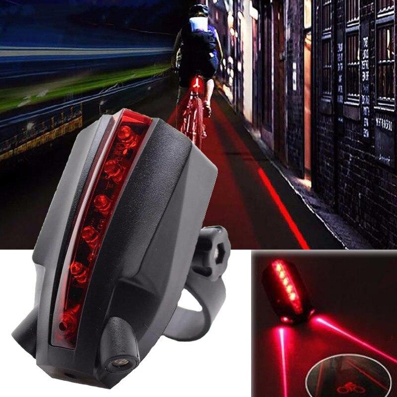 2 Laser 5 LED Rear Bike Bicycle Tail Light Beam Safety Warning Red Lamp Mount