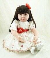 High end vinyl reborn baby doll handmade silicone toddler simulated doll princess accompany brinquedos new year christmas gifts