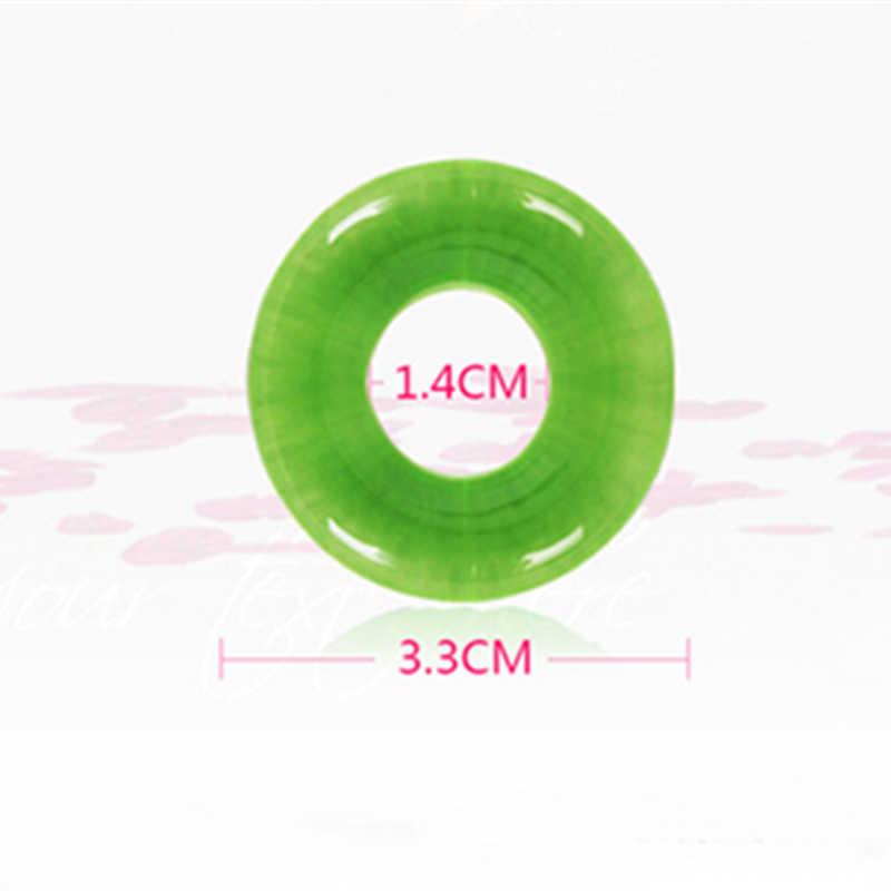 2 Pc verde silicona médica pene anillos demora la eyaculación elástico Control de cola Flexible pene anillo para hombre
