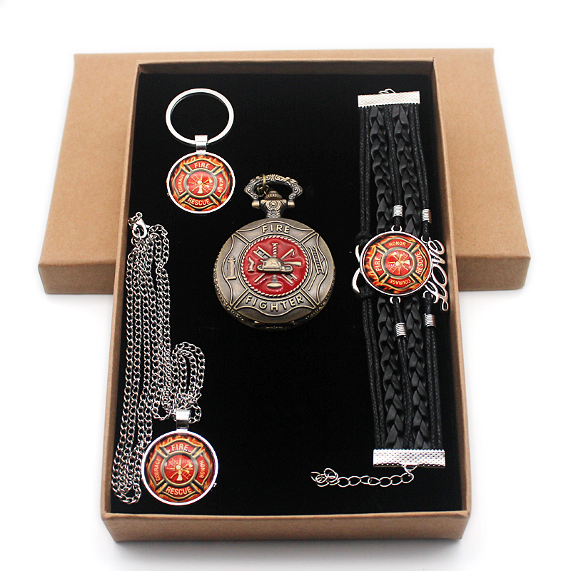 Classic United States Fire Fighters Control Gift Set Have Pocket Watch And Pendant Necklace And Key Chain Bracelet With Gift Box