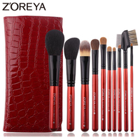 Zoreya Luxury Red Animal Hair Makeup Brushes Set Powder Concealer Contour Eye Shadow Cosmetic Tools Professional