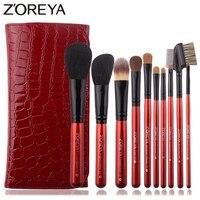 Zoreya Luxury Red Animal Hair Makeup Brushes Set Powder Concealer Contour Eye Shadow Cosmetic Tools Professional Makeup Set