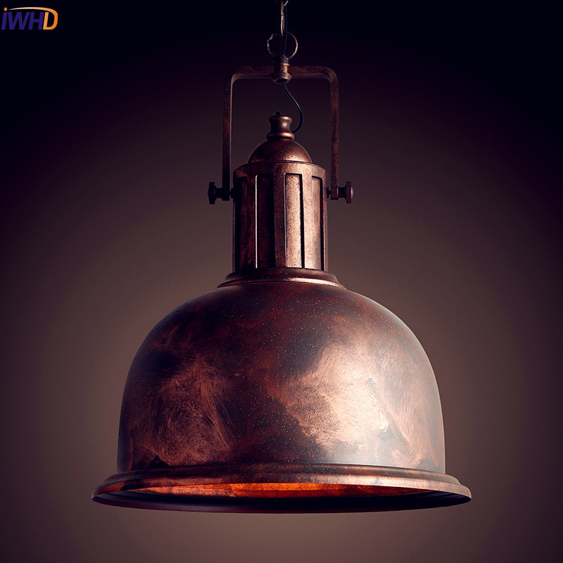 IWHD American Loft Style Retro Vintage Lamp Industrial Pendant Lighting Fixtures Dinning Room Hanging Light Iron Metal garden