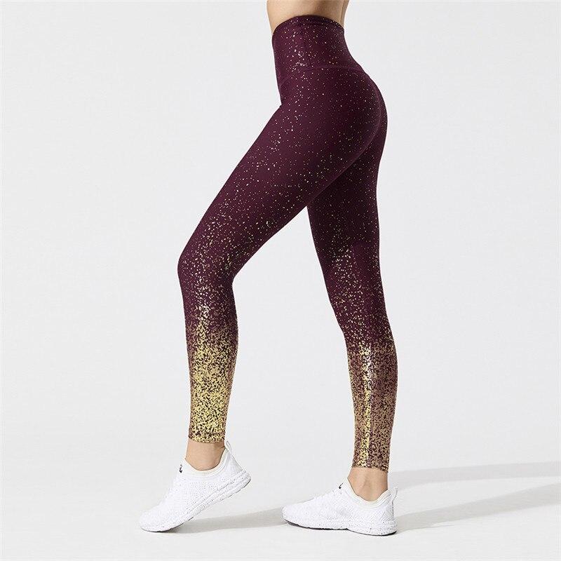 NORMOV Women Casual Workout Leggings High Waist Hot Stamping Printing Skinny Fitness Leggings Female Push Up Knitted Leggings
