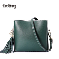 RanHuang Women Genuine Leather Handbags Fashion Flap Women's Tassel Designer Shoulder Bags Teenage Girls Small Messenger Bags