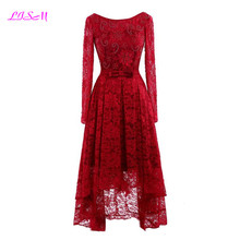 Vintage Red Lace Beaded Long Sleeves Prom Dresses Short Front Long Back Evening Dress Scoop Bow Sash Tulle Formal Party Gowns все цены