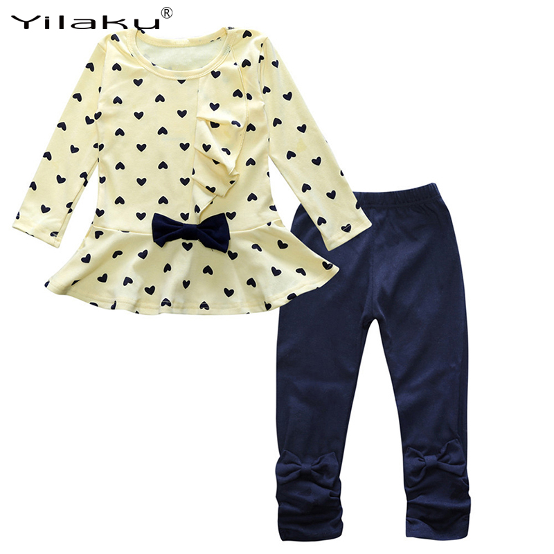 Children Clothing  Girl Autumn Winter Kids Girls Clothes Set Heart Print Bow Tops+Pant 2pcs Outfit Baby Toddler Girls Suit CF537 baby boy girl clothing set toddler clothes autumn cartoon tracksuits kids sport suit set coat pant 2pcs casual cardigan coats