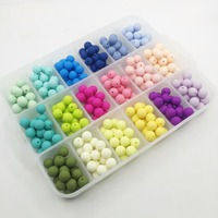 Silicone beads round candy color 100PC baby teether 10-15mm Accessories Silicone Beads Pendant DIY nursing bracelet kids beads