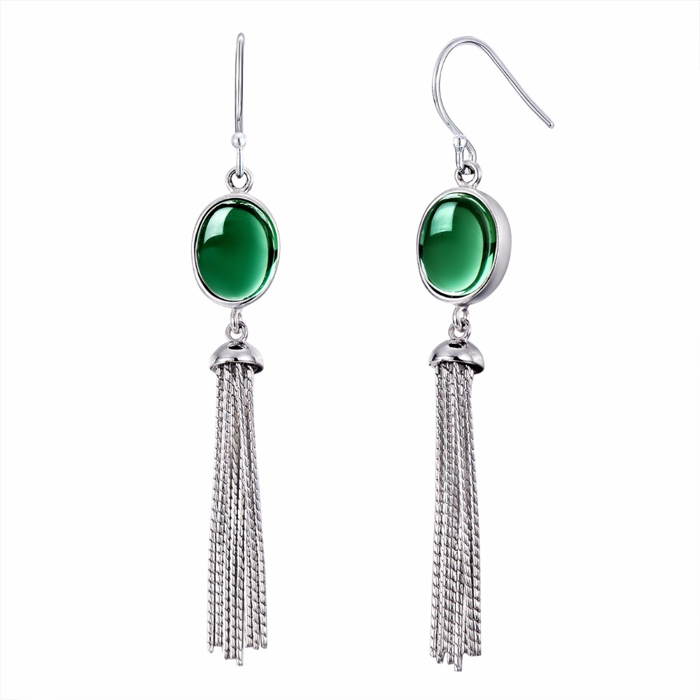 Elegance Crystal Long Drop Tassels Earrings For Women Green Crystal Gemstone 925 Sterling Silver Fine Earrings For Wholesale wholesale new fashion trendy 925 sterling silver zircon natural gemstone crystal green diopside pendant drop earrings for women
