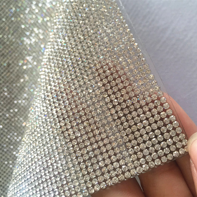 Free Ship!SS8 Clear Crystal Rhinestone Beaded Trim Diamond Mesh Hotfix Or Self ADHESIVE Roll Strass Applique Banding For Decorat