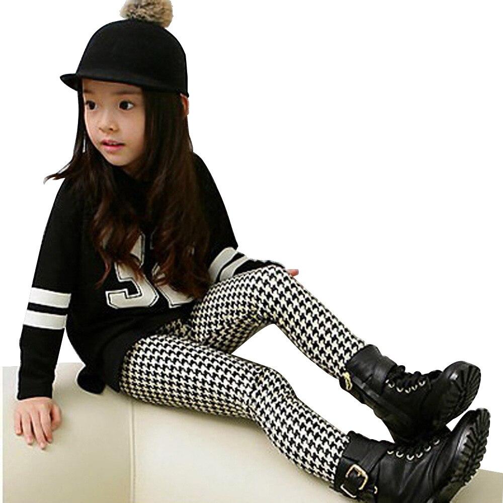Autumn Winter Soft Velvet Baby Leggings Girls Skinny Leggings Kids Bottoms Children Clothes Black White Plaid Check 3 To 10 Yrs