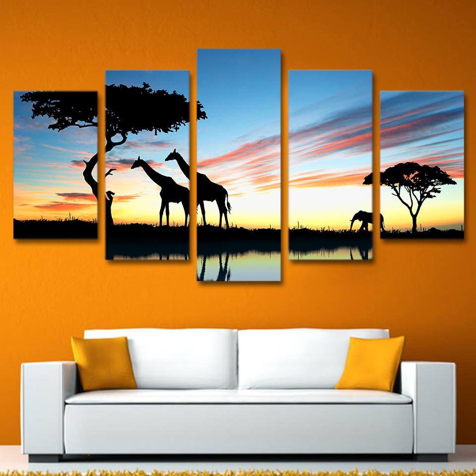 5 Panels unframed Africa landscape Safari Group painting HD Printed Canvas Art Modern Wall Pictures for Living Room home decor