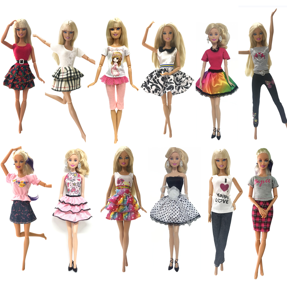 NK 6 Pcs Doll Clothes Handmade Fashion Short Dress Cartoon Cute Pattern Outfit For Barbie Doll Accessories Baby Girl DIY Toys JJ