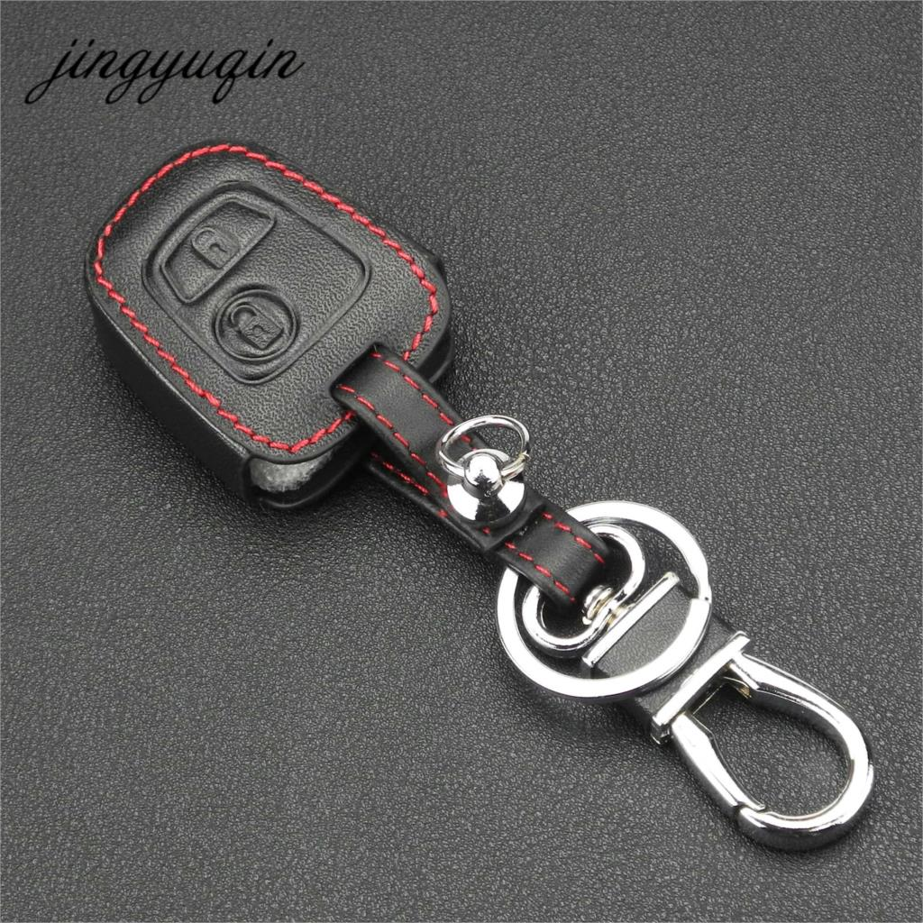 Image 2 - jingyuqin Leather Remote Key Car Key Fob Case Cover For Citroen C1 C4 for Peugeot 107 207 307 407 206 306 406-in Key Case for Car from Automobiles & Motorcycles