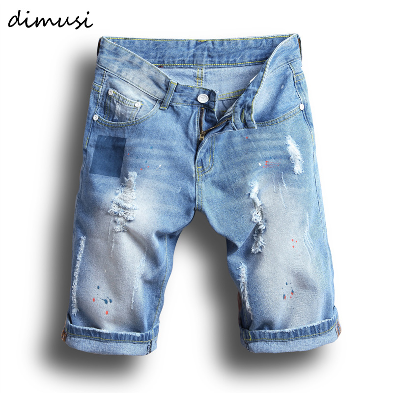 DIMUSI New Mens Denim Shorts Summer Regular Casual Knee Length Short Bermuda Masculina Hole Rippe Jeans