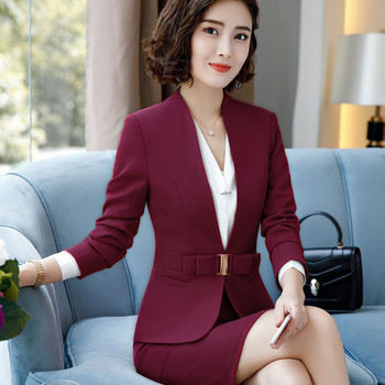 2018 New high quality women trouser suits fashion design butterfly buttons two pieces set slim design pant suits office wear 1