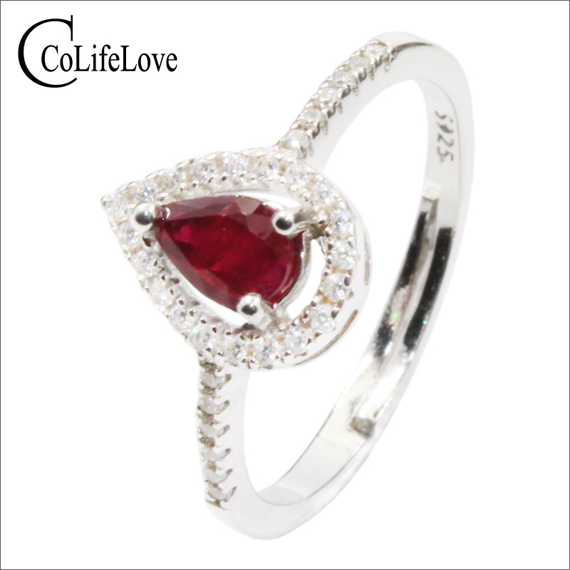 CoLife Jewelry Classic 925 Silver Ruby Ring for Party 0.4ct Natural Ruby Silver Ring Sterling Silver Ruby Jewelry Gift for Girl