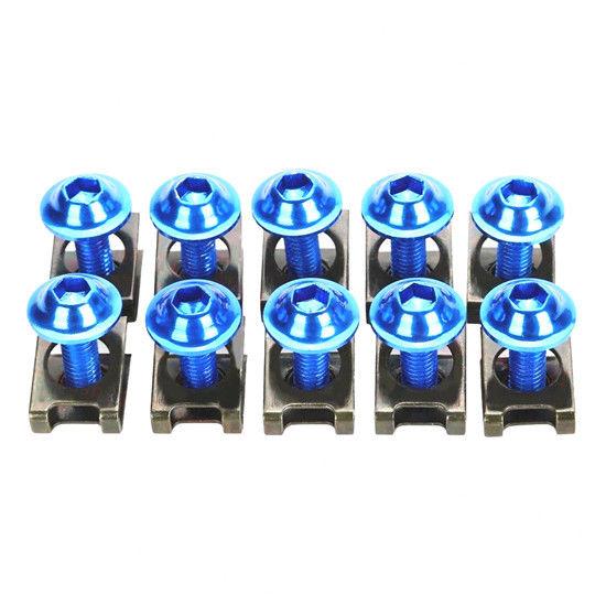 Blue M6 6mm Fairing Bolts Body Bolt Kit Screw Spire Speed Fastener Clip Nut US
