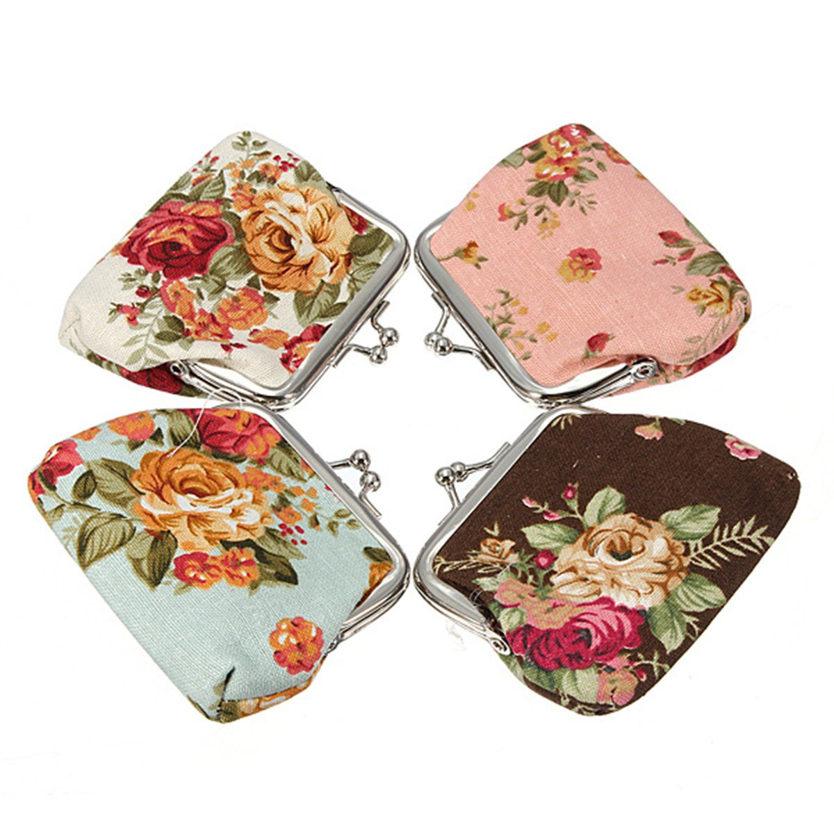 Women Roses Floral Fabric Clip Mini Small Coin Pocket Purse Bag Clutch