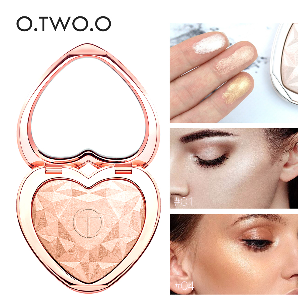 O TWO O 2019 New Hot Products Heart Shape Palette Bronzer Highlighter pressed Powder Shimmer Makeup