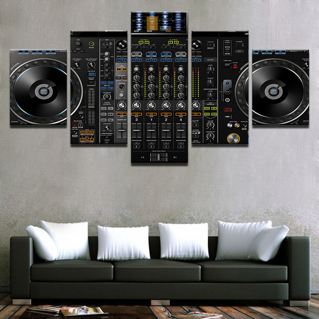 Modular Picture Home Decor Canvas Paintings Modern 5 Pieces Music DJ Console  Instrument Mixer Poster For