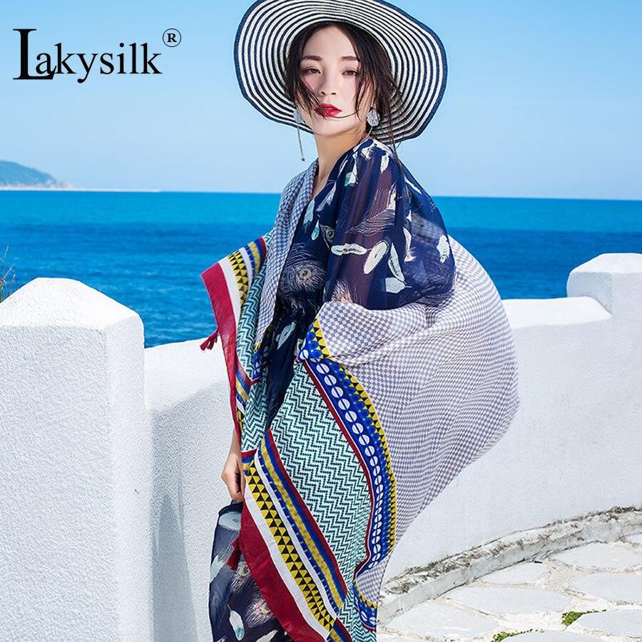 [Lakysilk] летние богемные Для женщин шарф Обертывания хлопок вискоза хиджаб шарфы женск ...