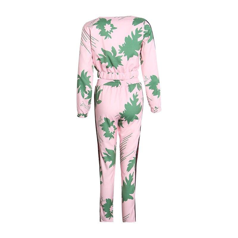 Kadın Giyim'ten Kadın Setleri'de TWOTWINSTYLE Rahat Baskı Iki Parçalı Set V Yaka Uzun Kollu Kısa Ceket Yüksek Bel Uzun pantolon seti Kadın Moda Yaz 2019'da  Grup 3