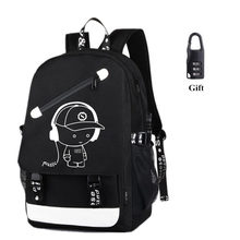 Fashion Backpack Student Luminous Animation School Bags For Teenager USB Charge Laptop Backpacks leisure travel bags mochila bag geometric laser lattice colorful backpack nubuck student luminous school bag fashion travel bags shinning cool bags