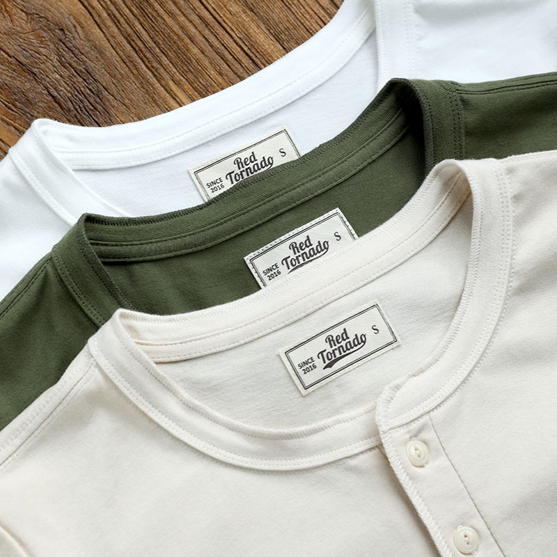 Henley Tee Read Description! Asian Size Mans 300gsm Heavy Casual Henley Tee Cotton 3 Colours