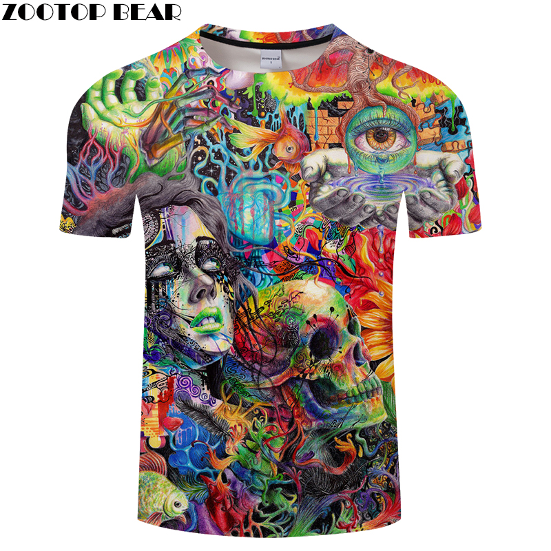 Beauty&Skull 3D Print t shirts Men Women tshirts Summer Funny Short Sleeve O-neck Tops&Tees Streetwear Drop Ship ZOOTOP BEAR