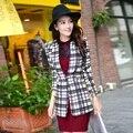 New Fashion 2016 Spring Autumn Women Suit Jacket Coat Plaid Slim Ladies Workwear Blazer Feminino Hot Sale Striped Fall Blazer XL