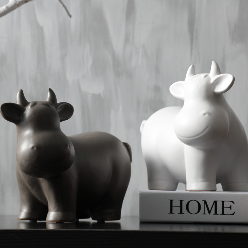 Minimalist Ceramic creative cow Bull home decor crafts room decoration handmade Cattle porcelain animal figurines decorations in Figurines Miniatures from Home Garden