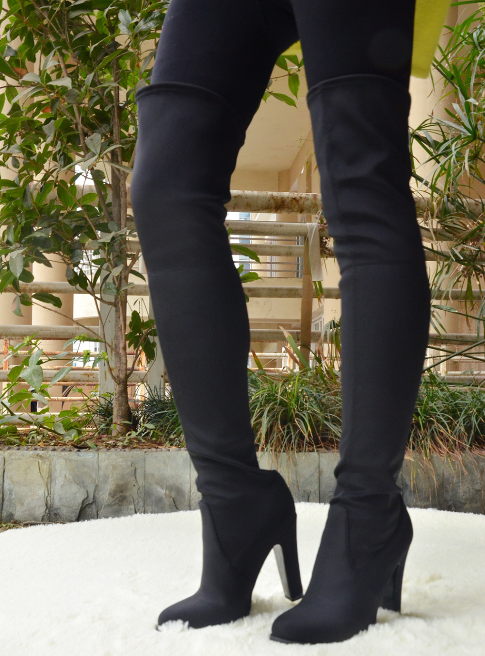 Shofoo Women Black Long Boots Round Toe High Heels Over The Knee Boots Pleated Motorcycle High Winter Boots, plus size 5-14