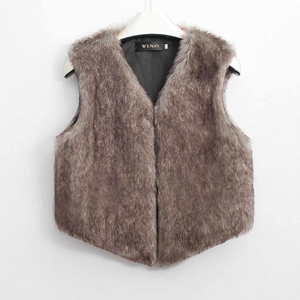 Feitong 2019 フェイクファーベストの女性レトロノースリーブコート上着プラスサイズの毛皮ジャケット女性チョッキ女性毛皮のコート冬