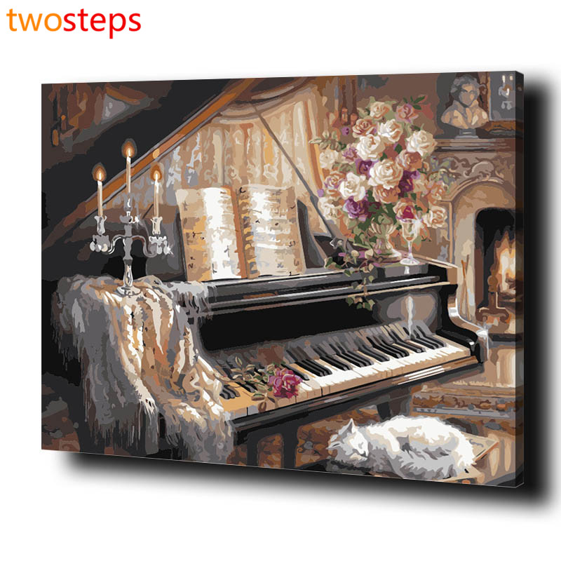 TwoSteps DIY Digital Canvas Oil Painting By Numbers Pictures Coloring By Numbers Linen Large Acrylic Paint By Number Kits Piano