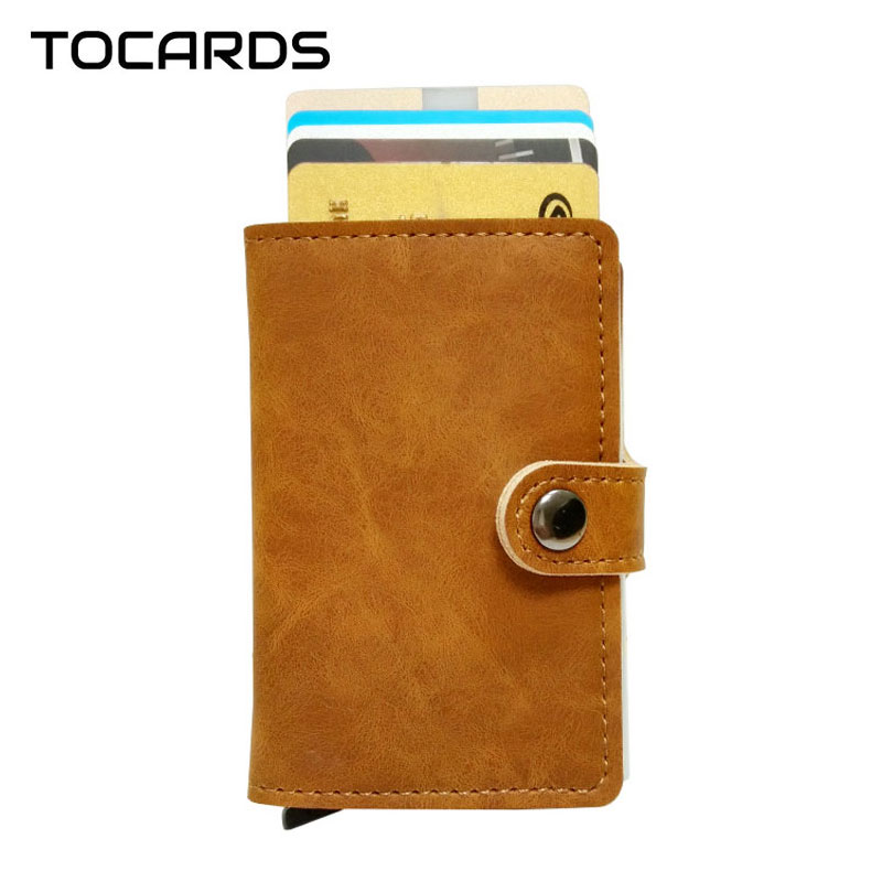 RFID Vintage Automatic Leather Credit Card Holder Male Aluminum Alloy Metal Business ID Cardholder Slim Card Case Wallet for Men men s waterproof business id credit card wallet plastic pocket case male business id credit card wallet aluminum metal pocket a9