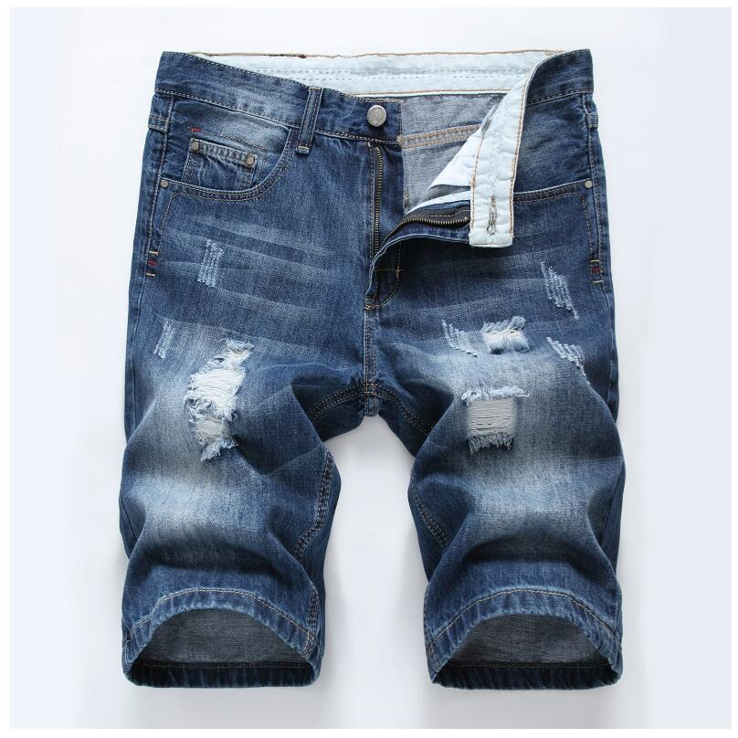 Men Summer Blue Denim Sorts Holes Short Jeans High Quality Men Cotton Straight Jean Shorts Casual Denim Jean Shorts Size 40