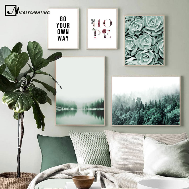 Misty Foggy Forest Picture Nature Scenery Scandinavian Poster Quotes Nordic Decoration Landscape Print Wall Art Canvas Painting