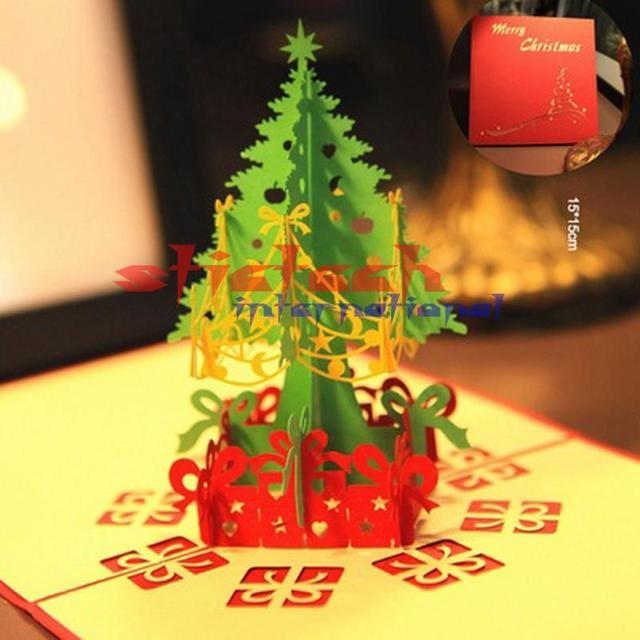 Frohe Weihnachten 3d.Us 145 0 Durch Dhl Oder Ems 100 Stücke Frohe Weihnachten Baum Vintage 3d Laser Cut Pop Up Papier Handgefertigte Benutzerdefinierte Grußkarten In